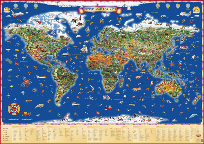 World map for kids vladimirblagoev this world map for kids with its more than 1000 pictures is a wealth of information about the earths relief landscapes countries capitals gumiabroncs Gallery